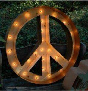 "Tin Metal PEACE SIGN Light Antique Replica Wall Art 36"" Diameter Big"