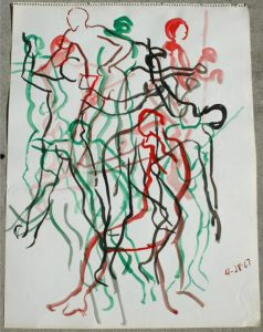 Adam Kraft Abstract Watercolor Painting of Dancing Figure, Listed Artist