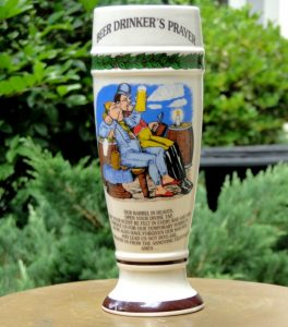 Beer Drinker's Prayer Funny Glass, Lord's Prayer Parody, Porcelain