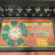 Antique Table Big Slot Machine Ready for Restoration Old with Orange Cabinet Winter Horse