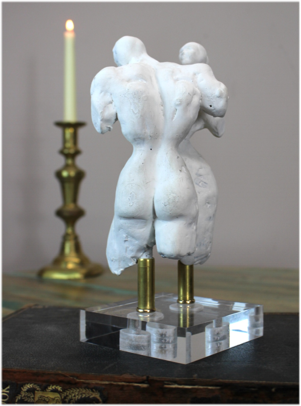 Lovers Lucite Sculpture with Nude Male and Female Figures on Acrylic Base lk Hart Haziza