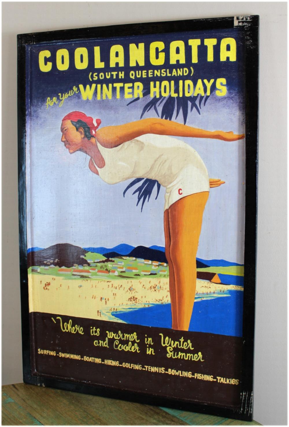 Hand Painted Old Advertising Memorabili, Replica Wood Wall Art Sign Queensland
