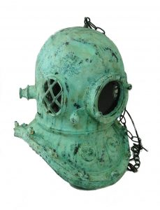 Green Tiffany Finish MARK V DIVERS HELMET CHANDELIER, Old Style Brass REPRO