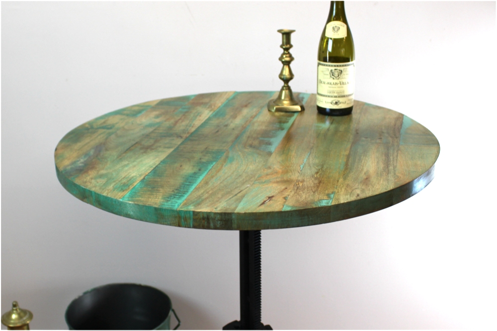 ... Iron Crank Vintage Side Table Old Factory Industrial Hand Made Bar 30