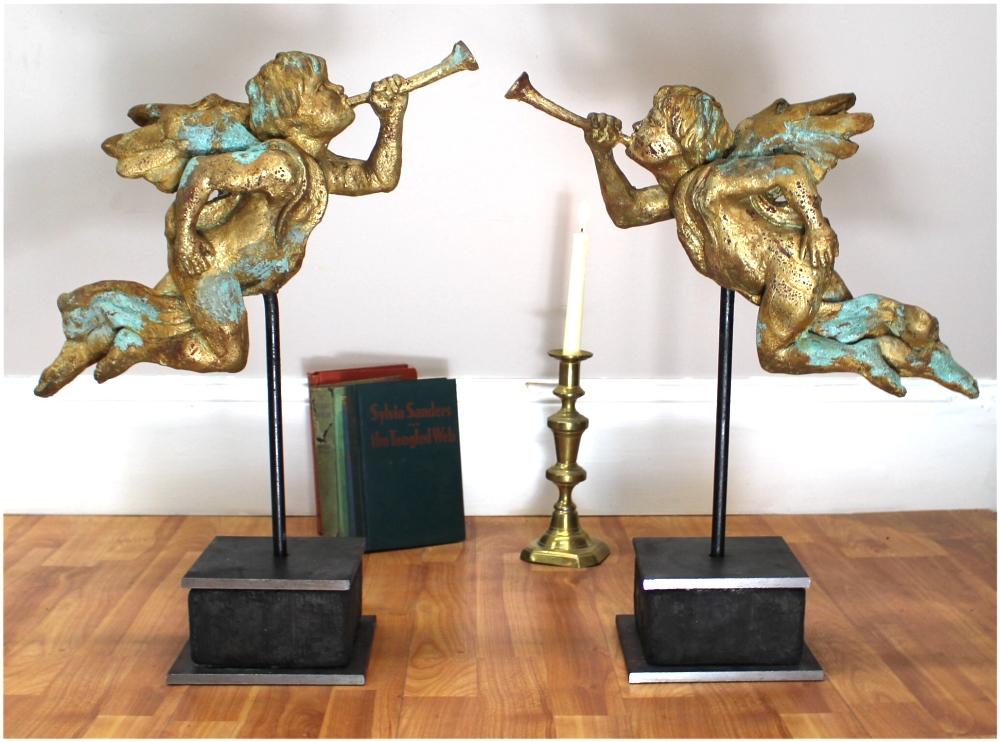 Big Gabriel Angels with Gold Leaf Trumpet on Heavy Iron Pedestal Pair