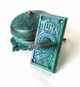 Twist Door Bell Tiffany Green fnsh REPLICA solid brass door hardware old house restoration
