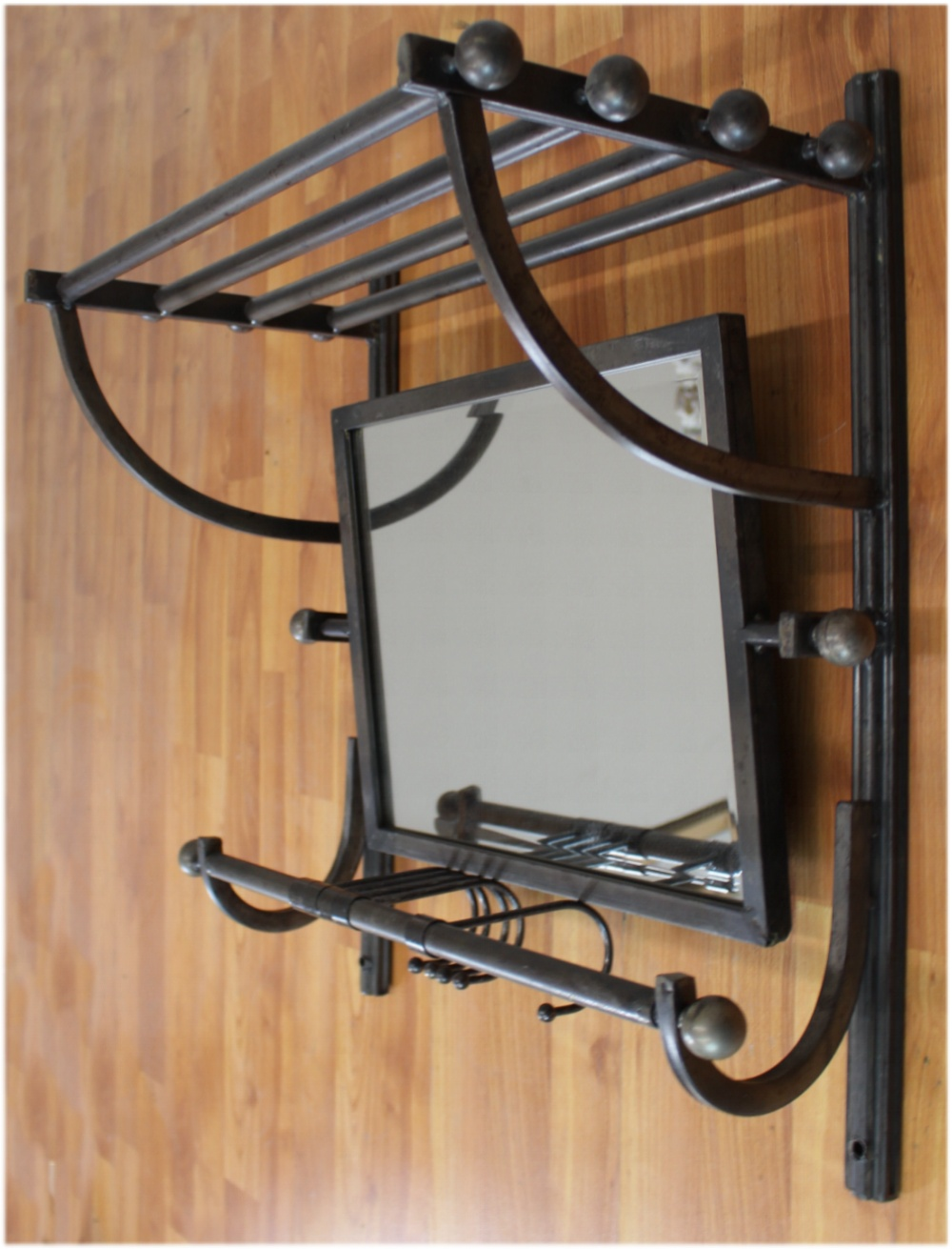 Train Rack Style Wall Shelf With Hooks Amp Swivel Beveled