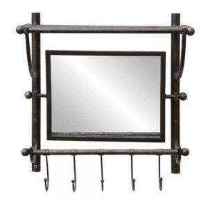 Train Rack Style Wall Shelf with Hooks & Swivel Beveled Mirror Aged Metal Ball Ends