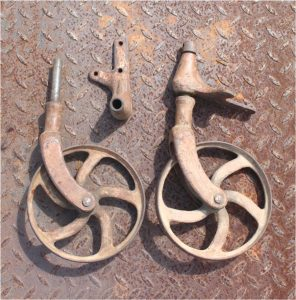 Factory Table Wheels Lineberry Cart Trolley Parts Cast Iron Antique PR