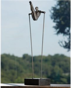 Acrobat in Pike Position On Black Marble Stand Statue Sculpture