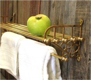 Cast Brass Train Rack for Bathroom with Shelf and Towel Rail Antique Replica