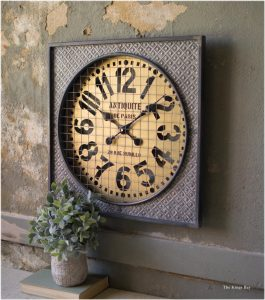 French Country Paris Wall Clock with Embossed Metal & Wire Mesh