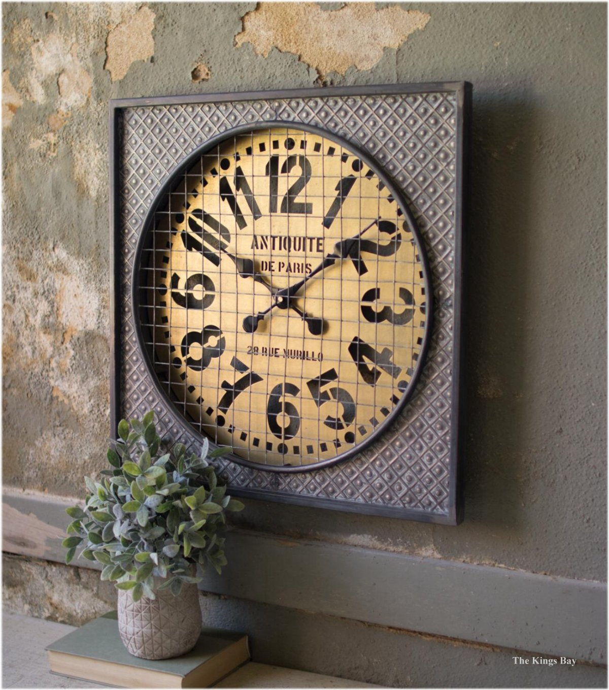 french country paris wall clock with embossed metal wire