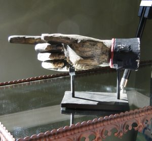 Old Victorian Pointing Hand Sign Vintage Replica 3d Folk Art on Pedestal