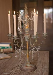 Rustic Crystal Candelabra with Old Painted Chic Finish
