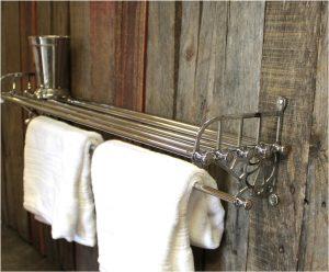 Chrome Train Rack for Bathroom with Shelf and Towel Rail Antique Replica