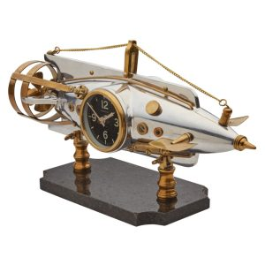 French Torpedo Jules Verne Nautilus Table Clock Nautical