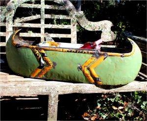 Lake House Canoe Recycled Tin for Ice Bucket or Flowers and Favorite Snacks