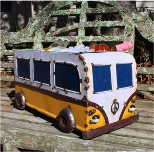 VW Recycled Tin Bus for Ice Bucket or Flowers and Favorite Snacks