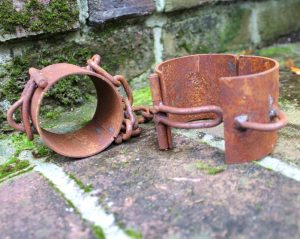 Old Rust Pair of Handcuffs Vintage Style Chains with Pipe Shape Bracelet