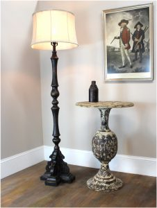 Black Floor Lamp with Aged Black Painted French Country Finish Soft Back Shade