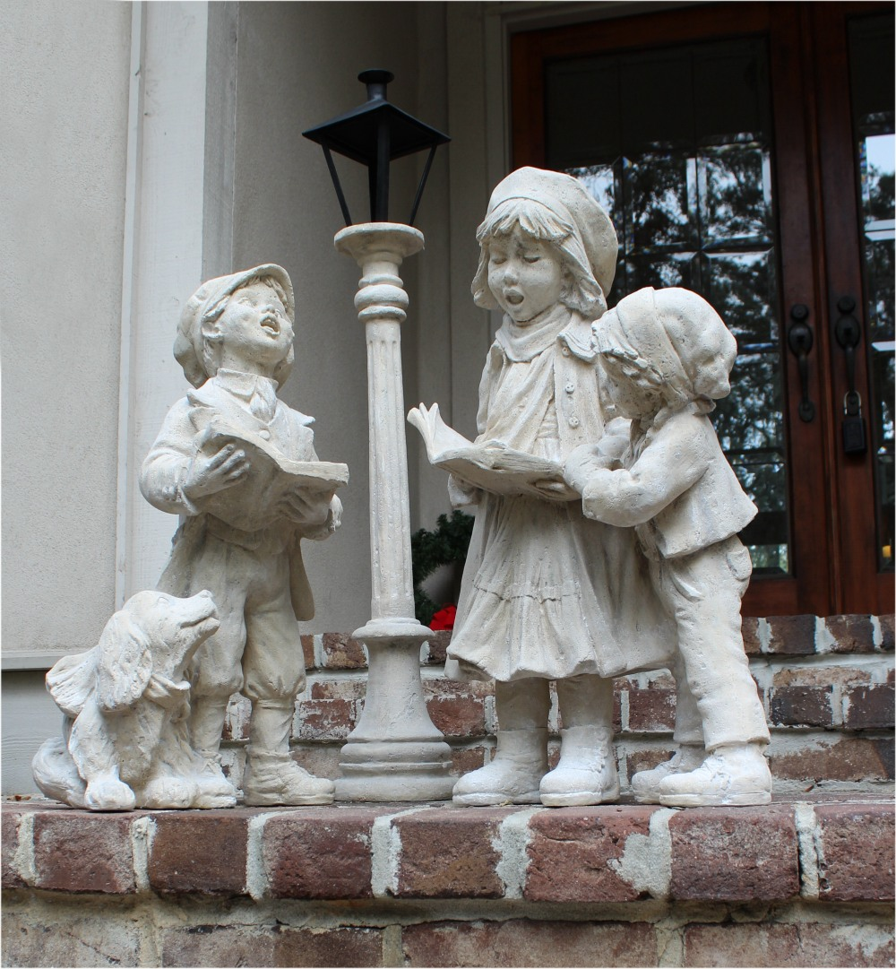 Christmas Carolers Wood Outdoor Yard Art By Chartinisyardart: Christmas Carolers Children With Dog & Lamp Post Indoors
