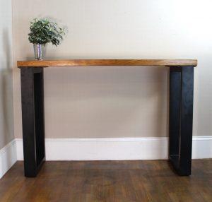 Lucite Stripe & Teak Wood Table Modern Black Legs Hand Made Furniture