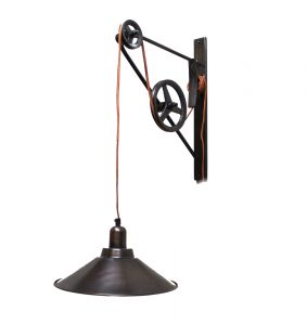 Pulley and Hook Wall Light in Vintage Bronze Finish with Dome Pendant Shade