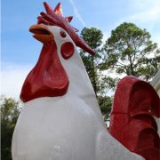 Giant Rooster / Chicken Statue Red or Custom Painted for Restaurant Wings Drums Thighs Sculpture