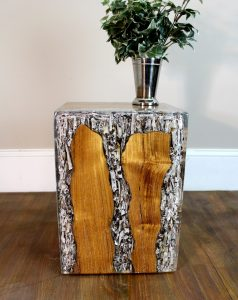 CLEAR Resin Lucite and Teak Root Wood Cube End Side Night Stand Table