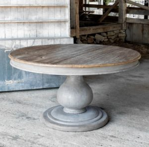 Gray Barnwood Inspired Foyer Large Round Pillar Table Hand Crafted