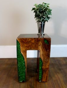 Burl Teak Wood Root and GREEN Resin Lucite Plastic End Side Night Table