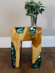 Burl Teak Wood Root and BLUE Resin Lucite Plastic End Side Night Table