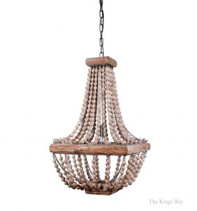 Iron Frame & Wood Wooden Beads Square Chandelier Light Fixture, Vintage Style