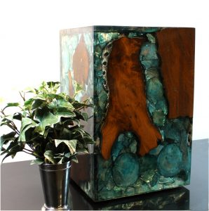 Blue Resin Lucite and Teak Root Wood Cube End Side Night Stand Table