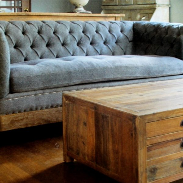 Gray Chesterfield Couch in Aged Wood with Tufted Seat & Tassels