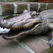 Alligator Crocodile Faux Bronze Statue Big Sculpture Florida Swamp Gator People