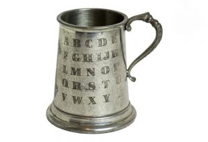 Sheffield England Pewter Baby Cup With ABC Alphabet Vintage Condition