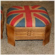 Union Jack British Flag Ottoman in Jute and Leather Construction