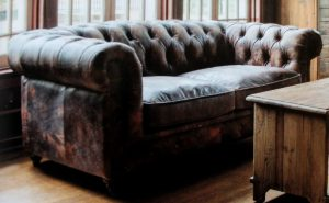Antique Leather Tufted Churchill Couch with Brass Tacks