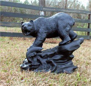 Bear With Salmon on Rock Stone Base Statue Sculpture Garden Decor