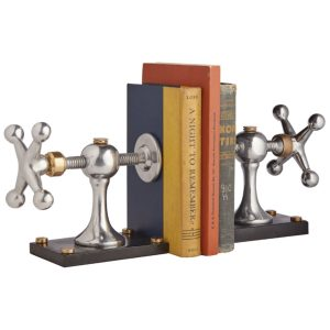 Dad's Wood Shop Clamp Bookends of Iron Aluminum and Brass