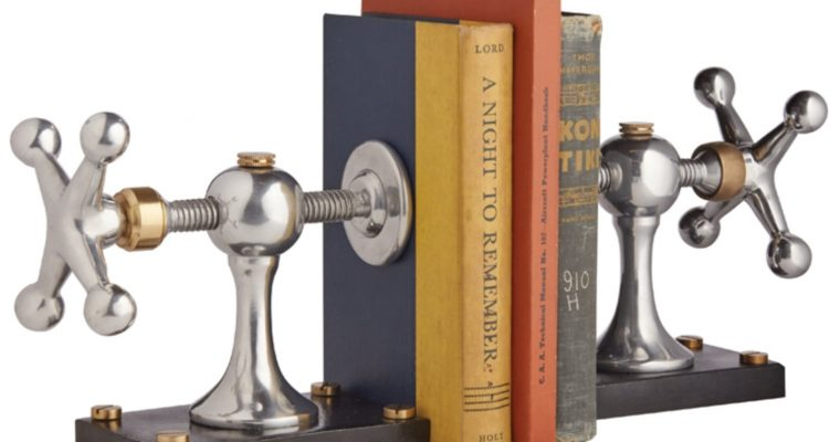 Dads Bookends Wood Shop Clamp of Iron Aluminum and Brass
