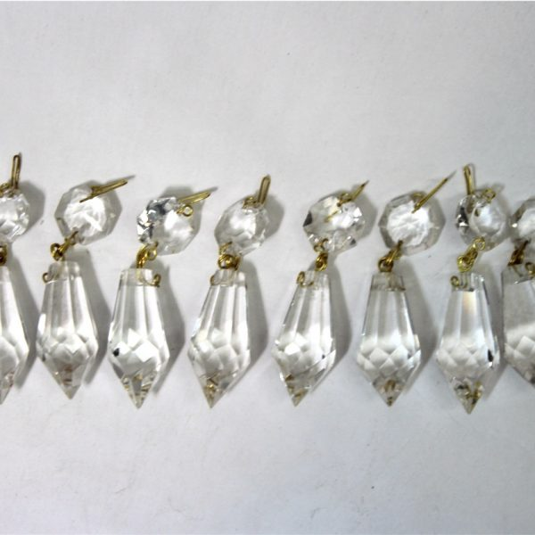 10 Piece Crystal Chandelier Part Prisms with Brass Hooks 1.5″ length Spire Light