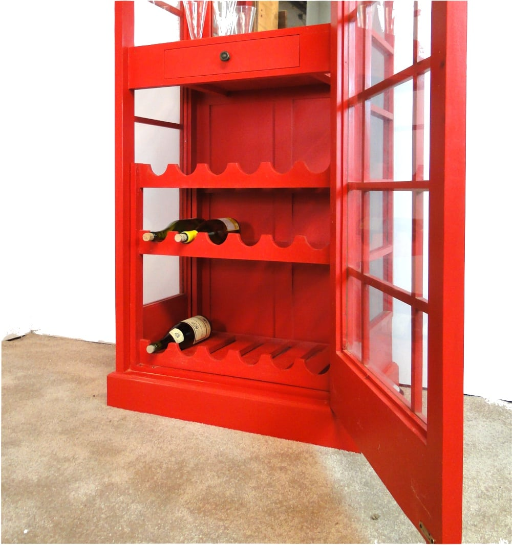 Red English Booth Bar Liquor Cabinet Mahogany Wood Antique Style   The  Kings Bay