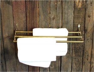 Antique Replica Simple Three Bar Towel Rack Solid Brass