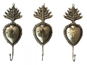 English Heart Crystal Set of 3 Wall Hooks for Towels Coat Vintage Style Hardware