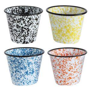 Antique Replica Agate Ceramic Spatterware over Steel Four Color Set Containers