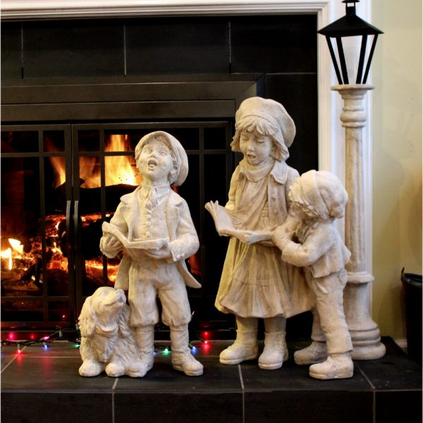 Christmas Carolers Children With Dog & Lamp Post Indoors or Outdoors Statues