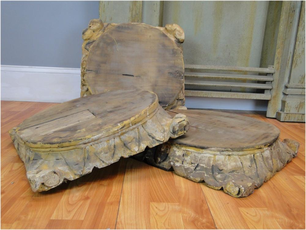 Aged Wooden Hand Carved Pillar Base For Display Or Furniture Pedestal For  Art